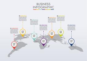 Présentation modèle de carte du monde des affaires infographie vecteur