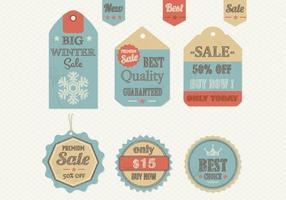 Pack de vecteur d'étiquette de vente rétro hivernal