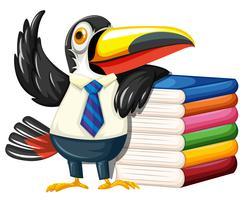 Toucan avec beaucoup de livres