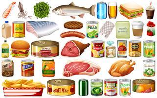 Ensemble de nourriture sur fond blanc vecteur