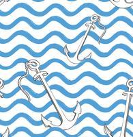 Modèle sans couture de vague océanique avec ancre. Ba eau marine élégant