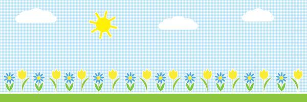 Fond horizontal de vecteur avec le soleil, les nuages et les fleurs