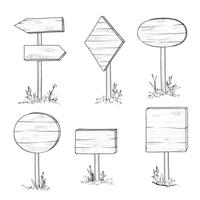 Panneau de signalisation en bois et flèche. Ensemble de panneau de planche de gravure rétro. vecteur