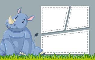 Rhinocéros sur modèle de note