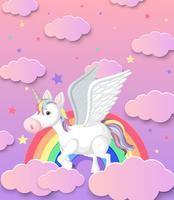 Licorne mignonne et fond arc en ciel