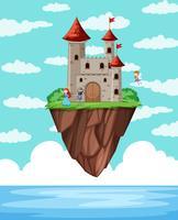 Une île de château au dessus de l'océan vecteur