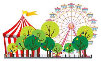 Scène de cirque avec tente et grande roue vecteur