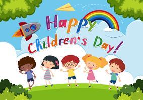 Logo de la fête des enfants heureux vecteur