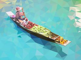 Marché flottant en Thaïlande vecteur