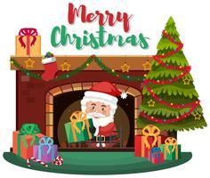 Cadeau de livraison du Père Noël par cheminée
