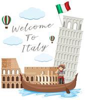 Italie point de repère sur fond blanc
