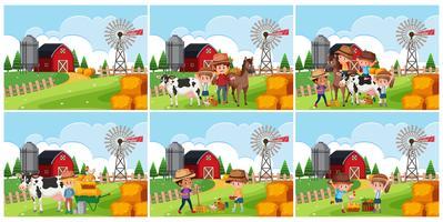 Ensemble de scène de terres agricoles vecteur