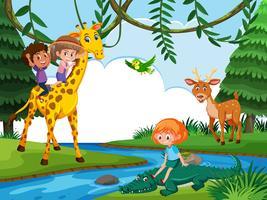 Enfants, équitation, animal, dans, nature, scène