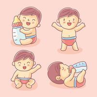 Vecteur de bébé mignon dessiné à la main
