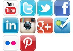 Icônes de vecteur de médias sociaux