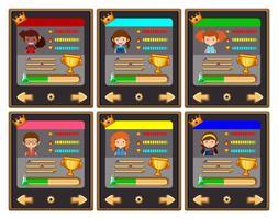 Modèle de jeu de cartes avec personnages et boutons vecteur