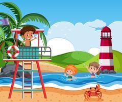 Les enfants à la plage vecteur