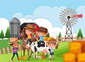 Enfants dans la scène de la ferme vecteur