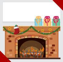 Modèle de bannière avec des cadeaux sur la cheminée