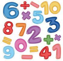 Un ensemble de chiffres et d'icônes mathématiques vecteur
