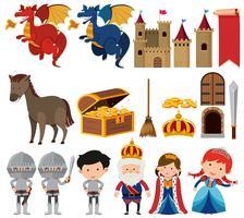 Ensemble de reine et roi fantasy vecteur