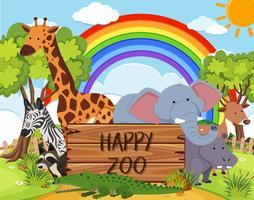 Animal heureux dans le zoo vecteur