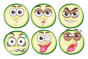 Six visages d'expression différents