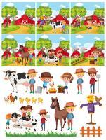 Ensemble de fermier dans la campagne