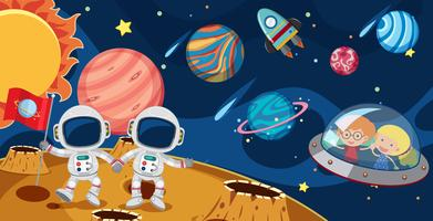 Astronautes et enfants dans UFO vecteur