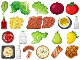 Ensemble d'éléments de nourriture