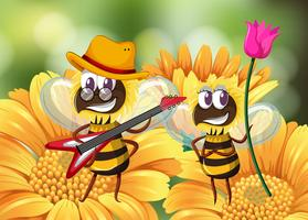 Abeille jouant de la guitare sur une fleur vecteur