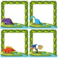 Ensemble de dinosaure sur le modèle de bordure vecteur
