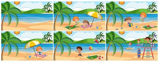 Ensemble de scène de plage d'été vecteur