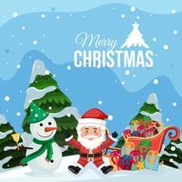 Joyeux Noël Père Noël et bonhomme de neige vecteur
