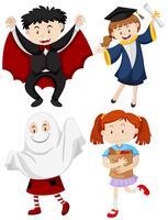 Enfants vêtus de costumes différents
