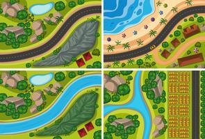 Vue de dessus de la rivière et de la nature vecteur