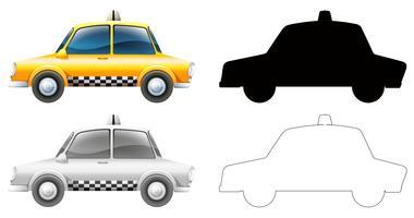 Set de voiture de taxi vecteur