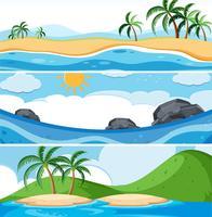 Ensemble de scènes d'océan vecteur