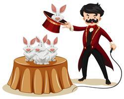 Magicien et lapins au spectacle vecteur
