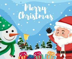 Joyeux Noël avec bonhomme de neige et père Noël vecteur
