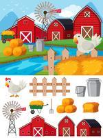 Éléments de la ferme et scène pendant la journée vecteur