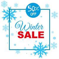 Modèle de fond de vente hiver avec des flocons de neige