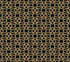 Modèle sans couture de lignes d'or minces qui se croisent sur fond noir. Abstrait ornement sans soudure.