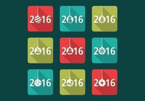 Ensemble d'icônes de vecteur de Noël 2016