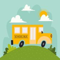 Autobus scolaire avec paysage nuages et soleil vecteur