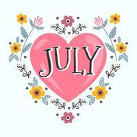Conception typographique de juillet vecteur