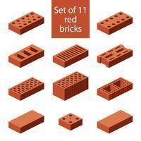 Ensemble de 11 briques rouges vecteur