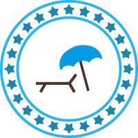 Icône de parasol et de chaise de plage de vecteur