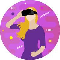 Fille à lunettes de réalité virtuelle vecteur