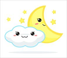Vecteur de dessin animé mignon kawaii de prévisions météorologiques.